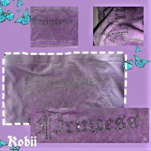"Lilac velvet bedazzled ""princess"" tube crop top"